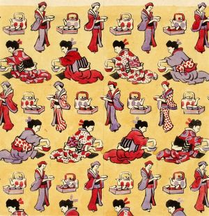 Design for Dress Silk or Print with Japanese figures