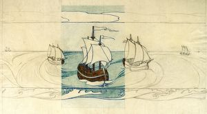 Design for Frieze (Wallpaper) with sailing ships