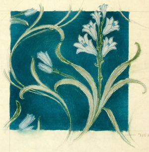 Design for Printed Textile in blue and green