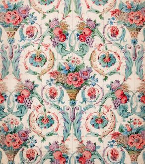 Design for Printed Textile in blue and pink