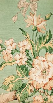 Design for Printed Textile in cream and green