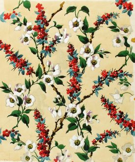 Design for Printed Textile with flowers and berries