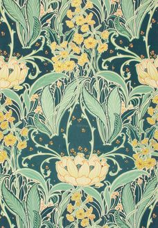 Design for Printed Textile with leaves and flowers
