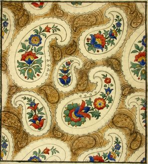 Design for Printed Textile with paisley pattern