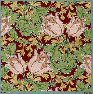 Design for Printed Textile in pink and green