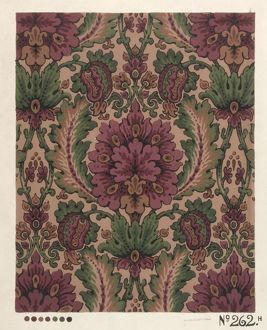 Design for Printed Textile in purple and green
