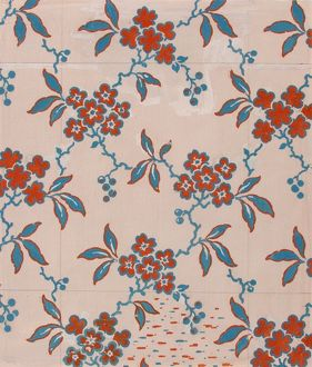 Design for Printed Textile in red and blue