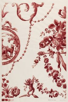 Design for Printed Textile in red and cream