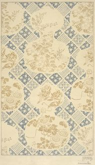 Design for Textile in blue and beige