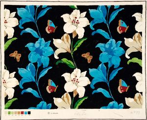 Design for Textile with blue and white flowers