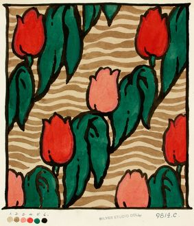 Design for Textile with rows of tulips