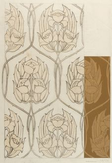 Design for Textile or Wallpaper in brown and beige