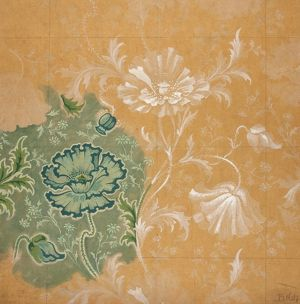 Design for Textile or Wallpaper in green and beige