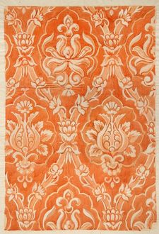 Design for Textile or Wallpaper in orange and white
