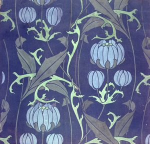 Design for Wallpaper in blue, purple, green and grey