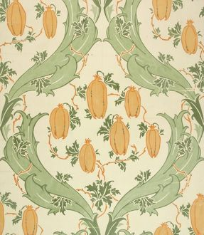 Design for Wallpaper in green and orange