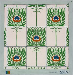 Design for wallpaper with peacock feathers