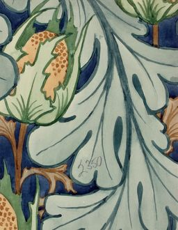 Design for Wallpaper with poppy head and leaf