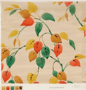 Design for Woven Textile with colourful leaves