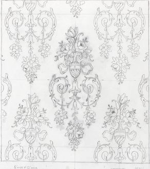 Design for Woven Textile with flowers and swirls