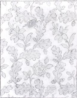Design for Woven Textile with leaves and flowers