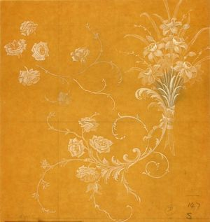 Design for Woven Textile in orange and cream