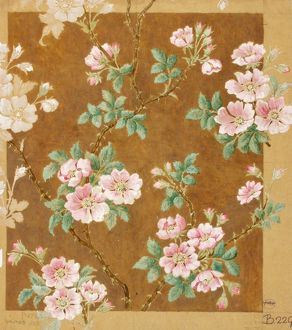 Design for Woven Textile with pink flowers