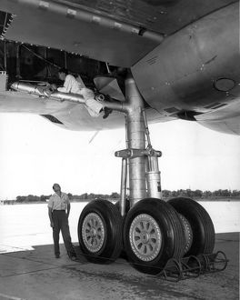 The four-wheel main landing gear of a Convair B-36