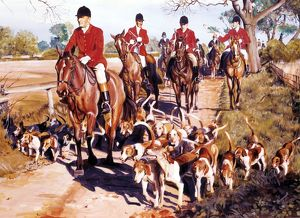Fox hunting - riders and their dogs