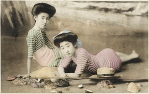 Geisha girls at the seaside, Japan