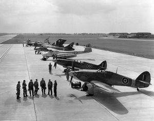 Six generations of RAF fighters line up together