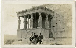 Six Gents sitting beside Porch of the Caryatids, Acropolis
