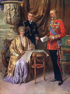 George V, Queen Mary & Prince of Wales by Matania
