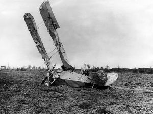 German DFW CV biplane crashed in a field, WW1