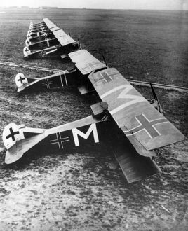 German Fokker D VII fighter planes, WW1