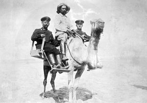 German soldiers on a camel, South West Africa, WW1