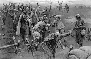 Germans surrendering, Western Front by Matania, WW1