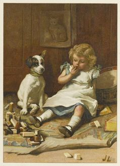 GIRL WITH DOG / J LAWSON
