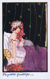 Glamour art deco postcard by Dolly Tree