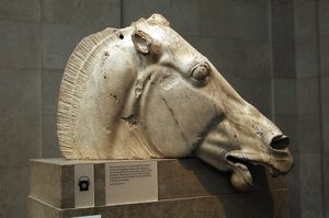 Greece. Athens. Parthenon. Head of horse from the chariot of