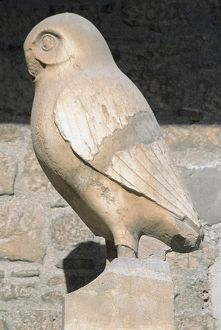 Greek art. Statue of owl. Symbol city of Athens. Acropolis M
