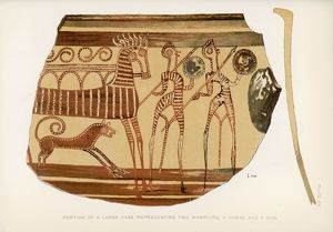 Greek vase -- warriors with horse and dog