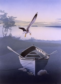 Gull swoops above an empty rowing boat