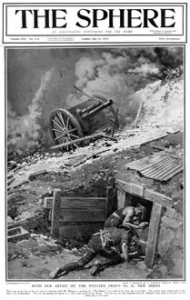 Gunners sheltering during a bombardment, 1917, Matania