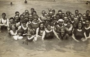 Holidaymakers in the sea at Margate, Kent