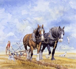 Horses pulling the plough