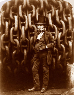 I K Brunel before the hauling chains of the 'Great Eastern'