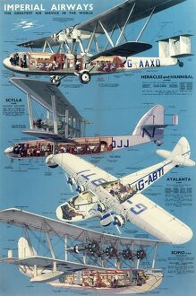 Imperial Airways Poster, four types of plane