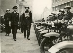 King George VI inspecting dispatch riders of the LFB, WW2