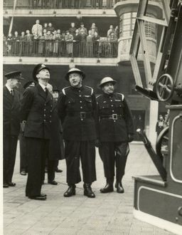 King George VI inspecting firefighting equipment, WW2